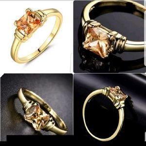 Princess Cut Topaz 24K Yellow Gold Filled Rings